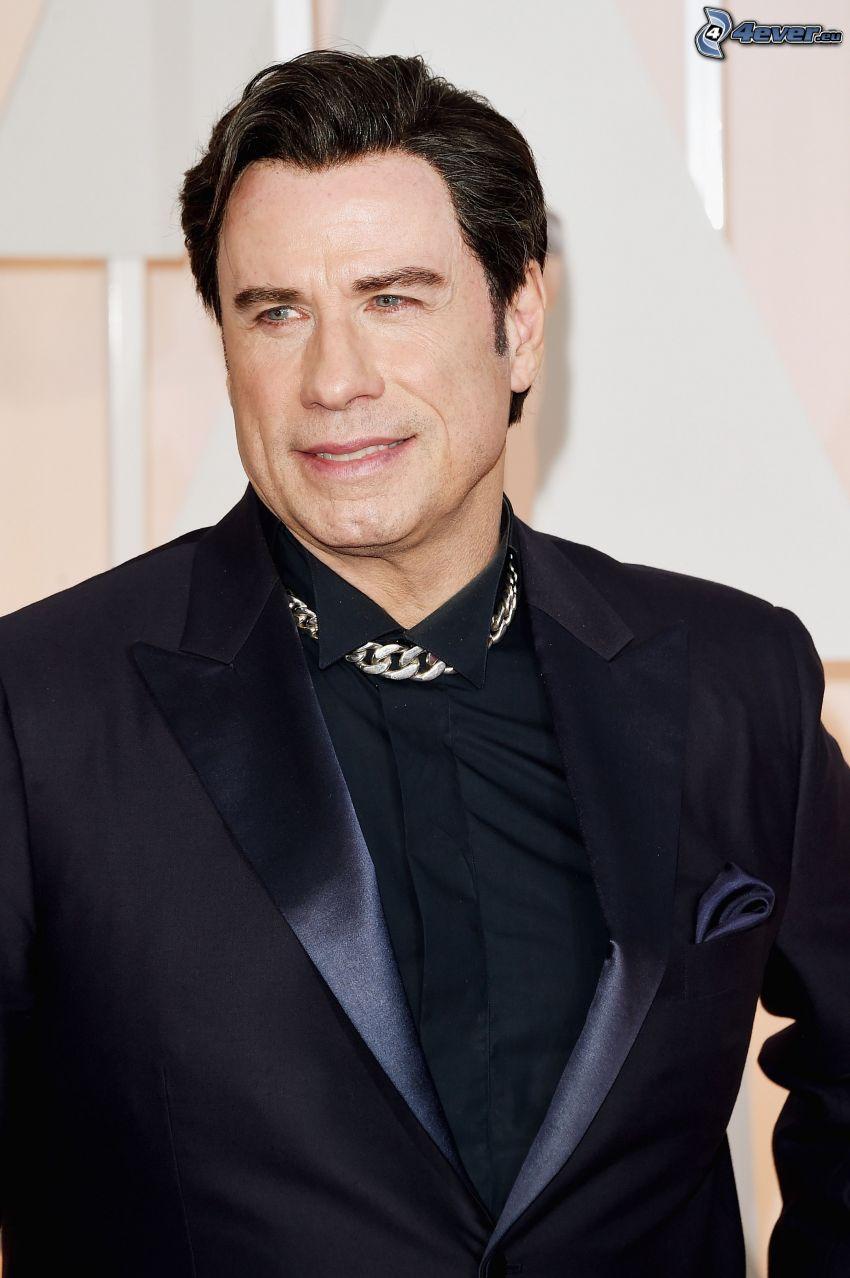 John Travolta, mirada, hombre en traje