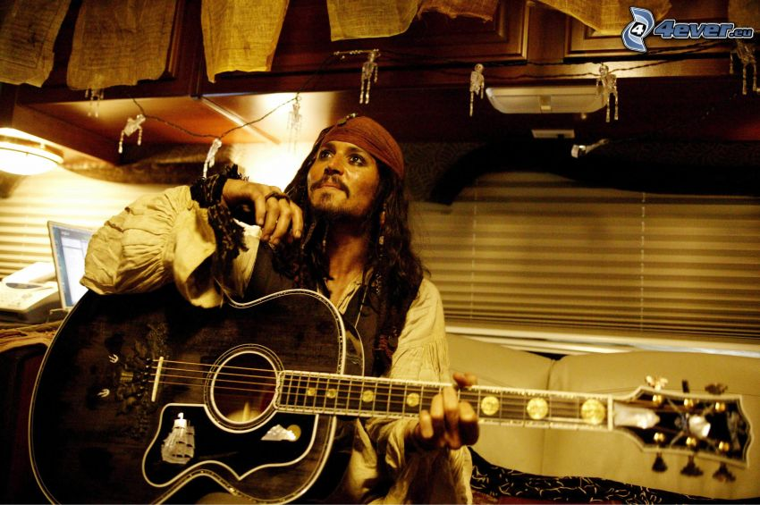 Johnny Depp, Jack Sparrow, guitarra