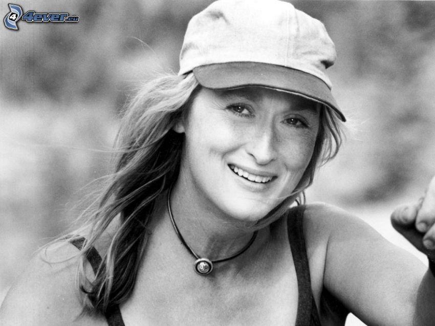 Meryl Streep, Foto en blanco y negro, gorro