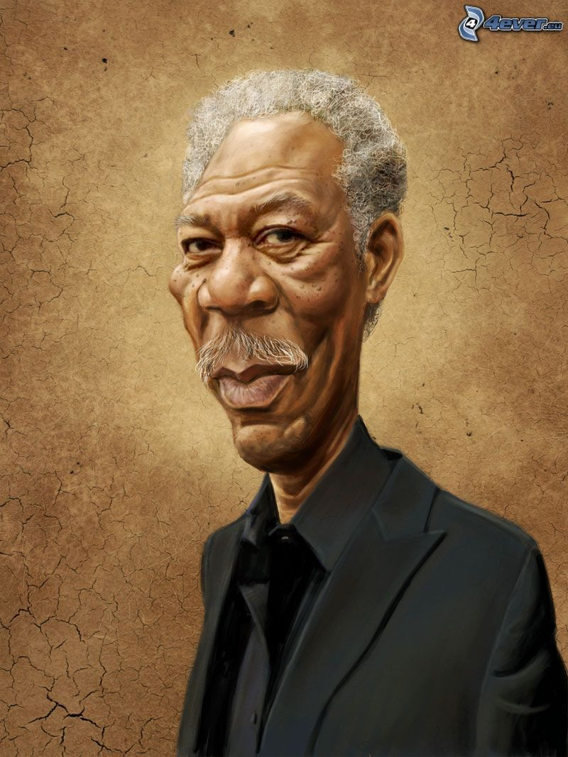 Morgan Freeman, caricatura, dibujos animados