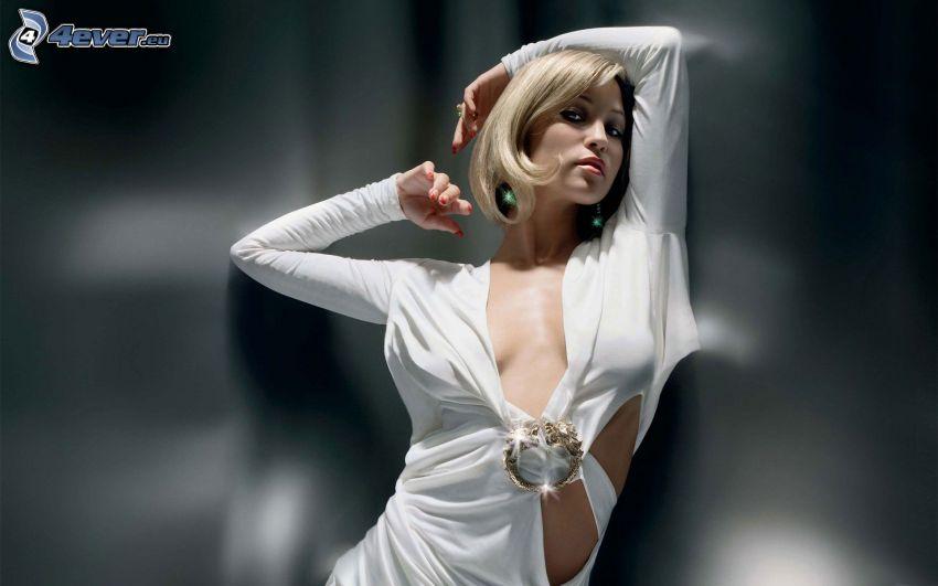 Rachel Stevens, vestido blanco