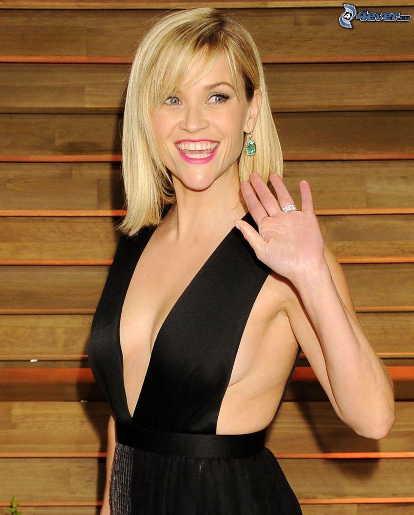 Reese Witherspoon, vestido negro, sonrisa, saludo