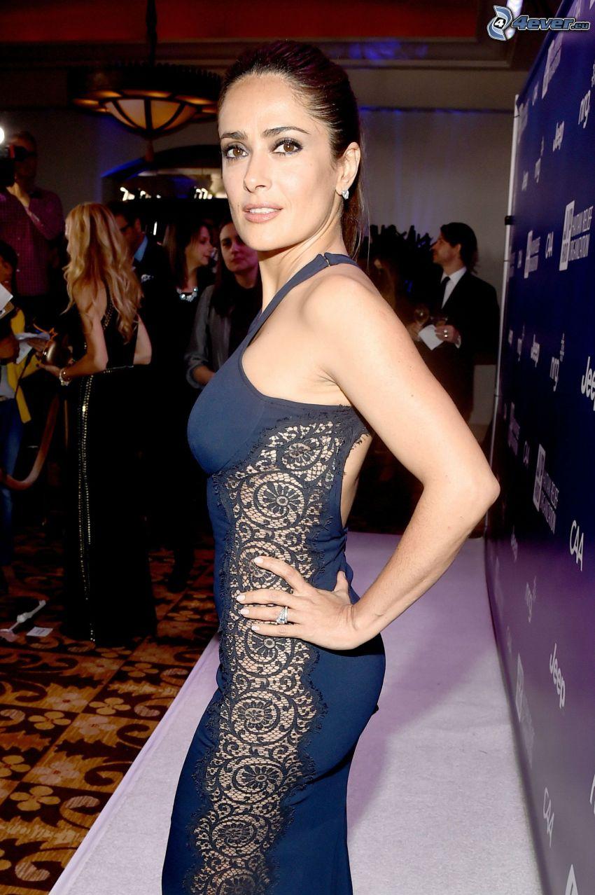 Salma Hayek, vestido azul