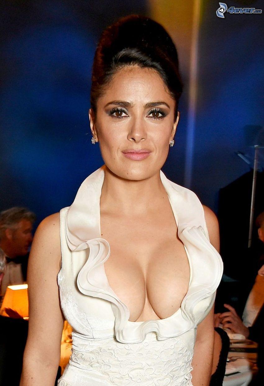 Salma Hayek, vestido blanco