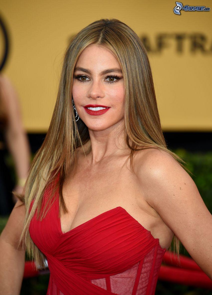 Sofia Vergara, vestido rojo, labios rojos
