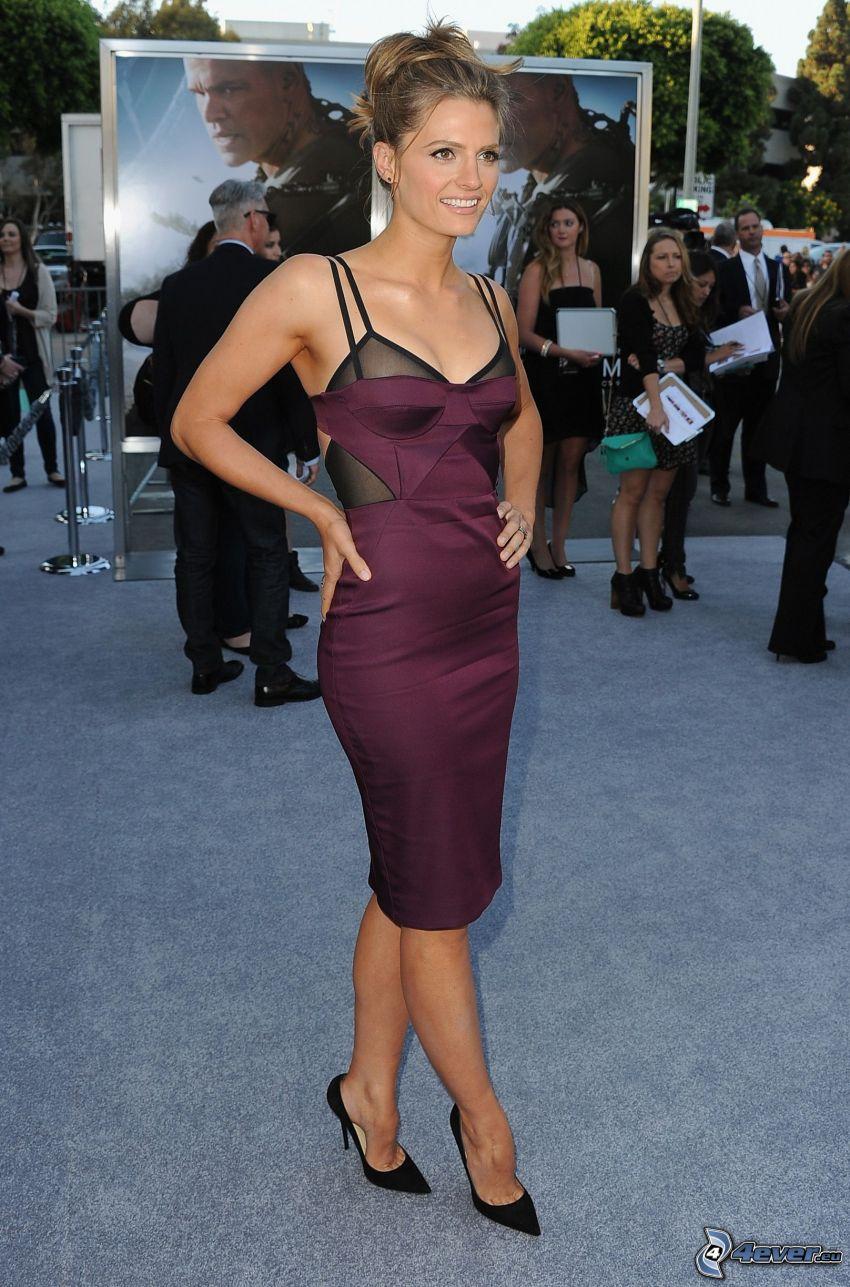Stana Katic, vestido púrpura