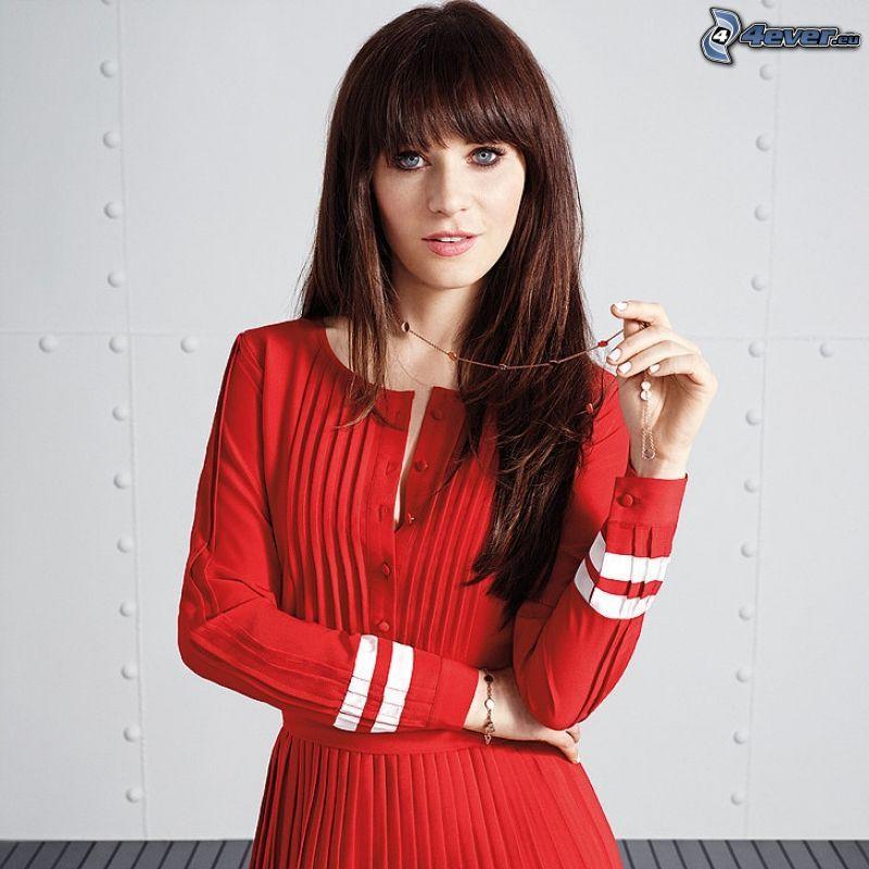 Zooey Deschanel, vestido rojo