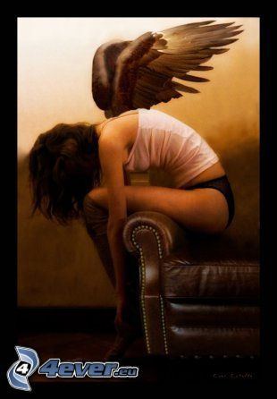 ángel, chica, mujer con alas, silla