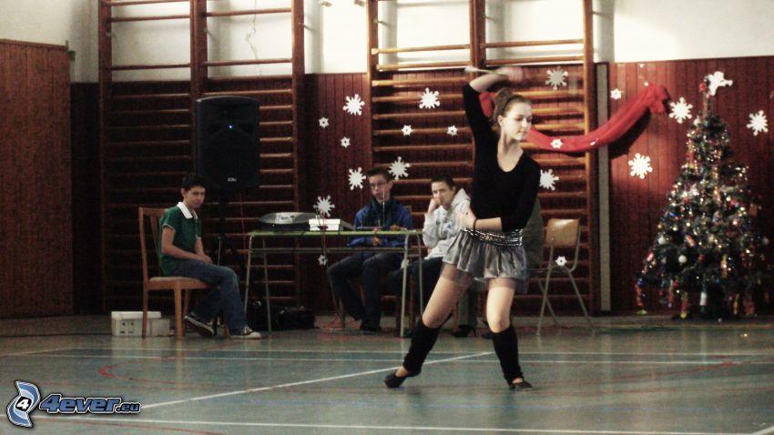 bailarina, chica, árbol de Navidad