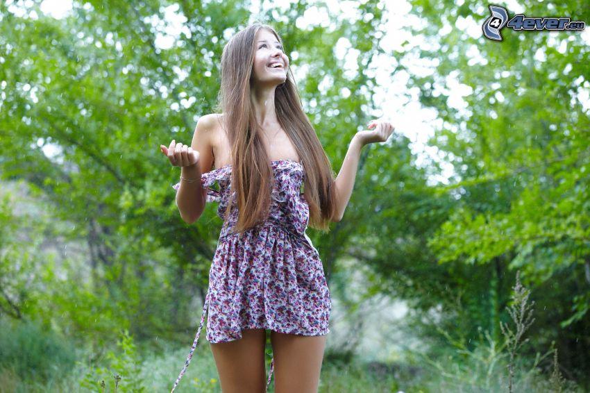 chica, bosque