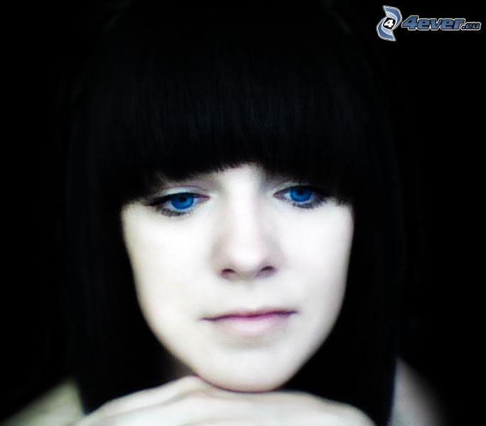 chica, flequillo, ojos azules, pelo oscuro
