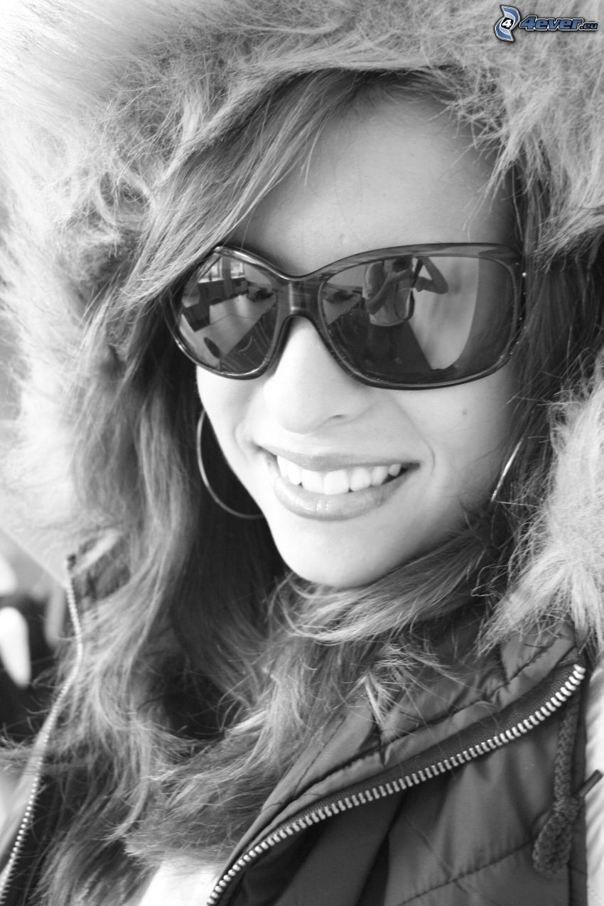 chica, gafas de sol
