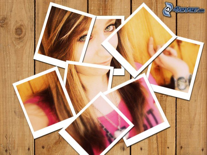 fotos, chica, collage