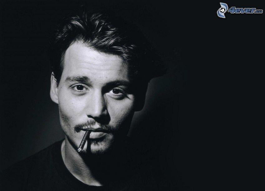 hombre, cigarrillo, Foto en blanco y negro