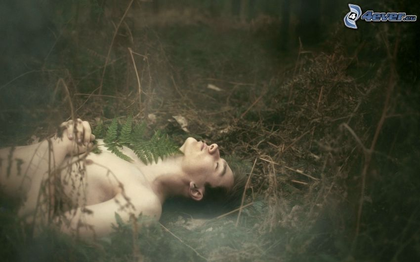 hombre desnudo, helechos, hierba seca