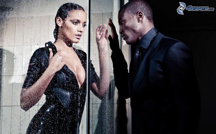 hombre y mujer, negro, vidrio, gotas de agua