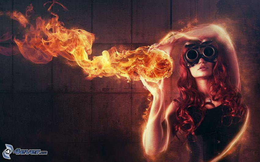 mujer al fuego