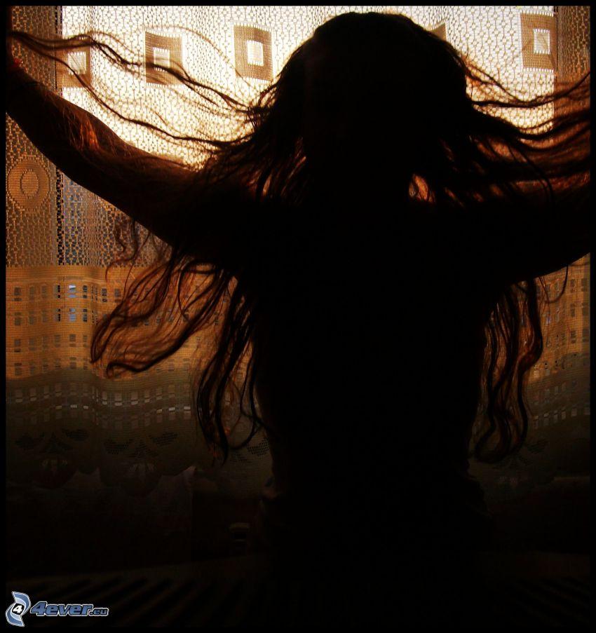 silueta de mujer, chica, cabello