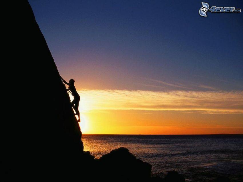 trepador, puesta de sol sobre el mar, roca, montaña, montañismo