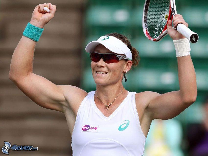 Samantha Stosur, jugadora de tenis, alegría