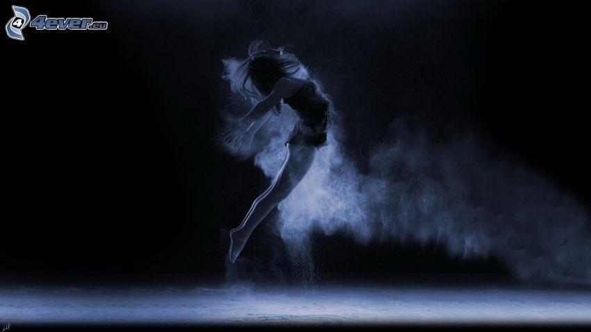bailarina, chica, salto, polvo