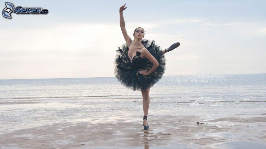 bailarina, postura, mar