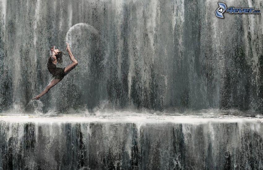 bailarina, salto, cascada