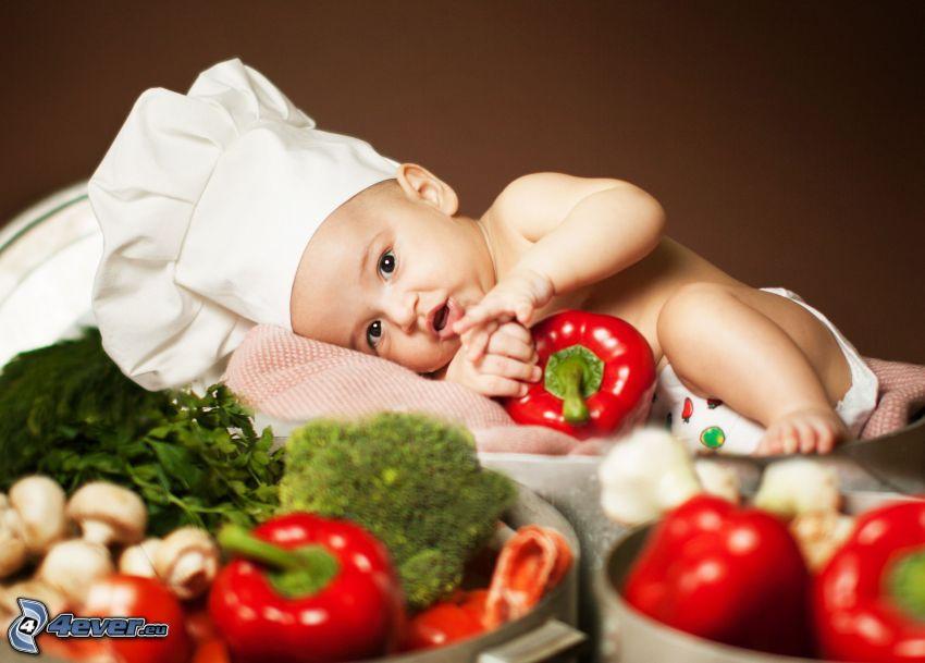 bebé, cocinero, pimientos