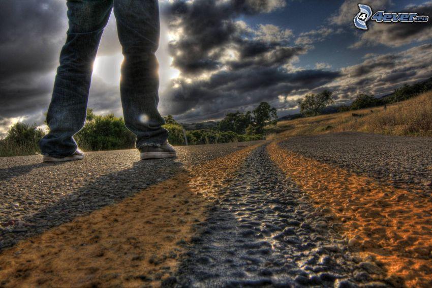 camino, pies, cielo, HDR