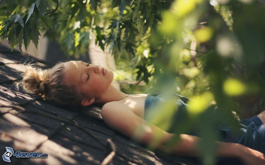 chica, dormir, verde
