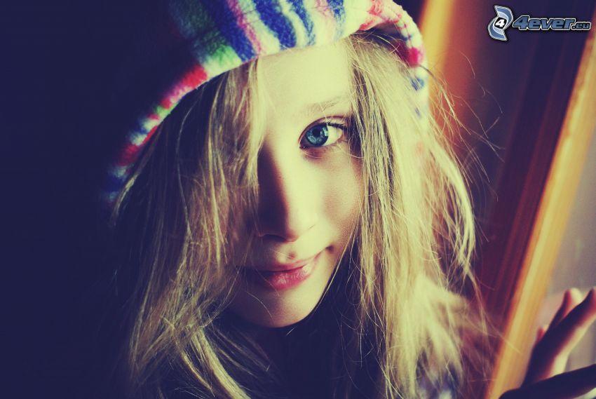 chica, ojos azules, rubia