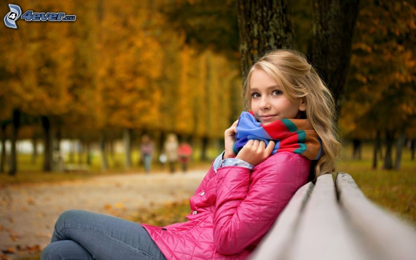 chica, parque de otoño