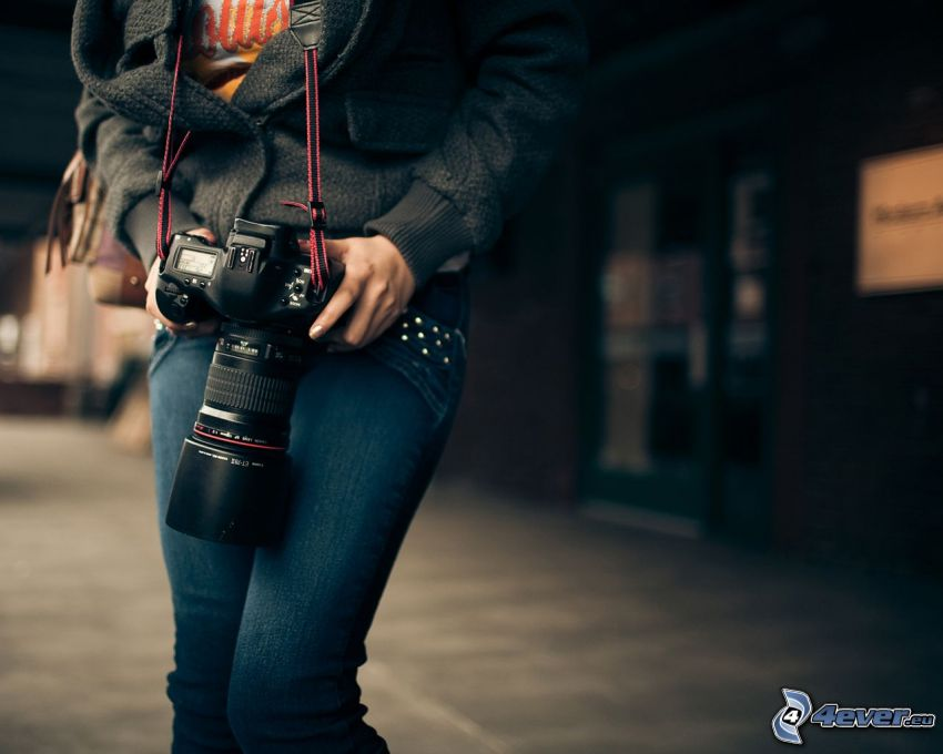 chica con cámara, objetivo