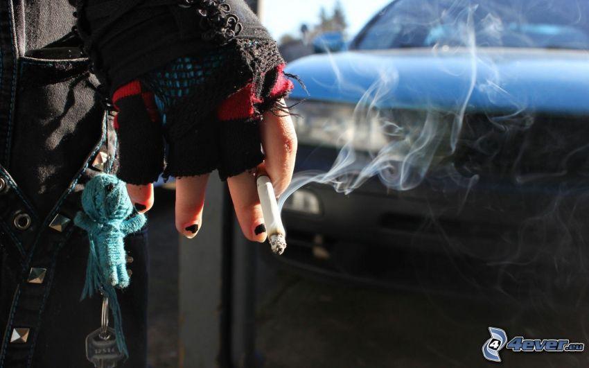 chica con cigarrillo, mano, humo