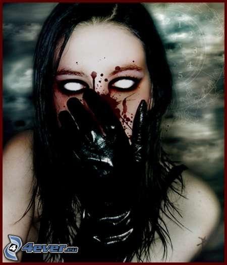 chica gótica, sangre