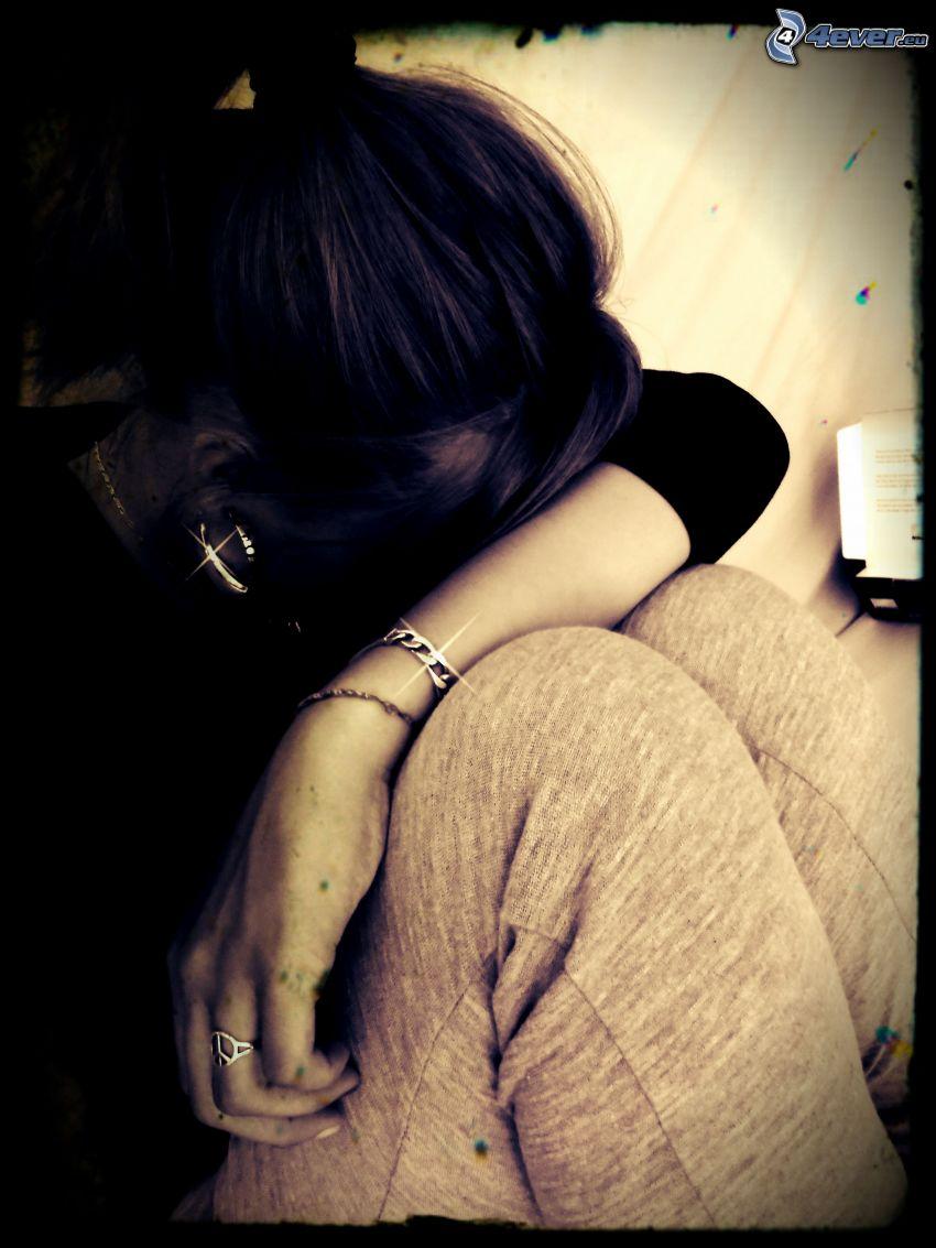 chica triste, depresión