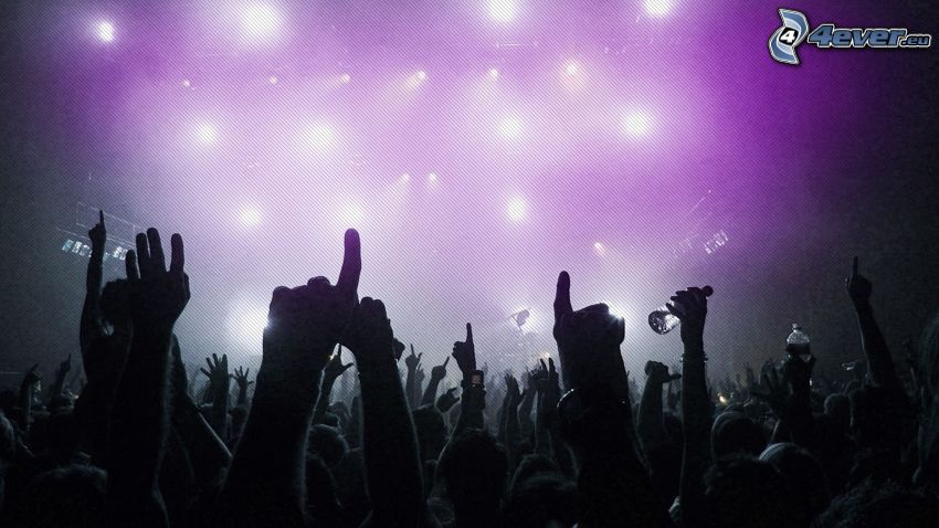 concierto, manos, luces, megafiesta