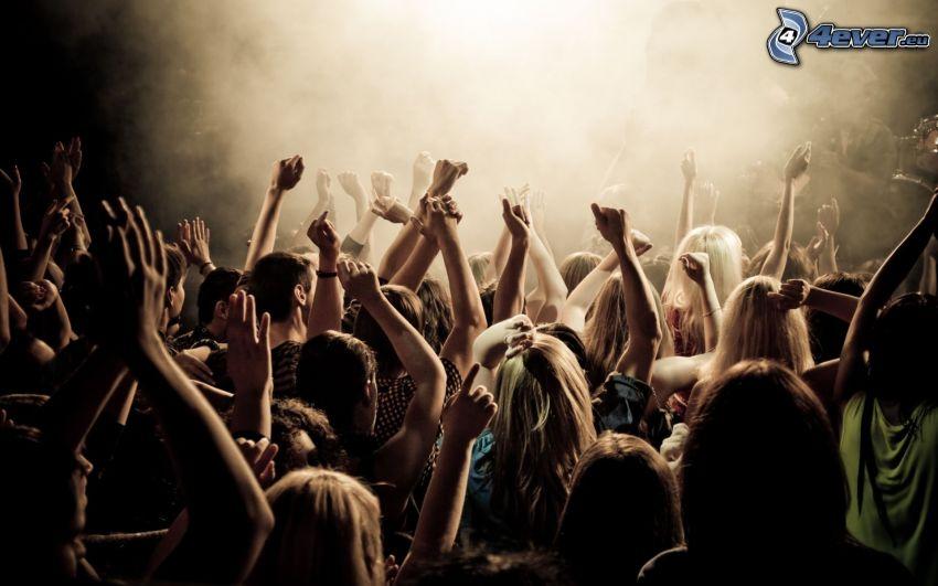 concierto, personas, manos
