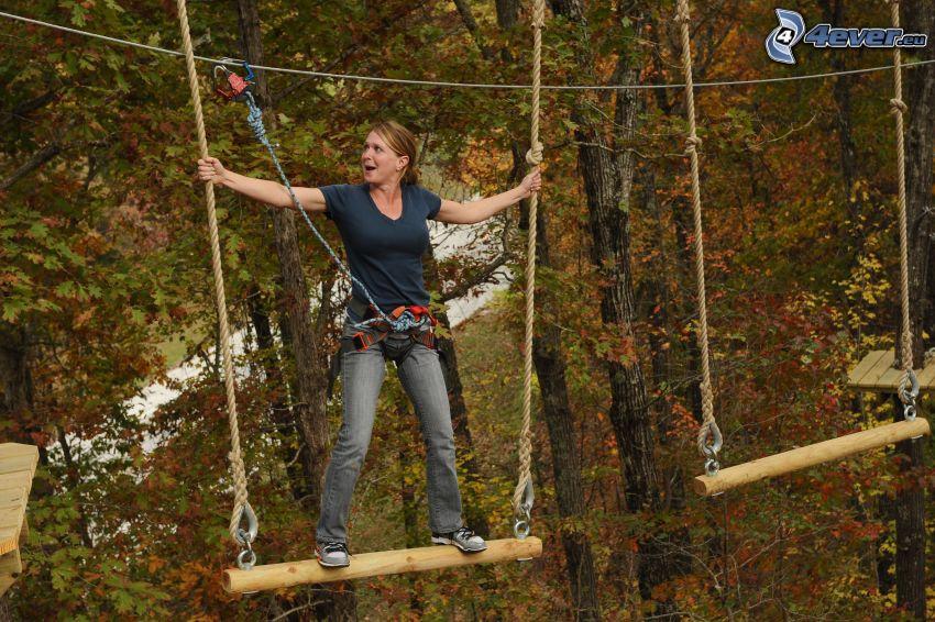 curso de cuerdas, mujer, árboles