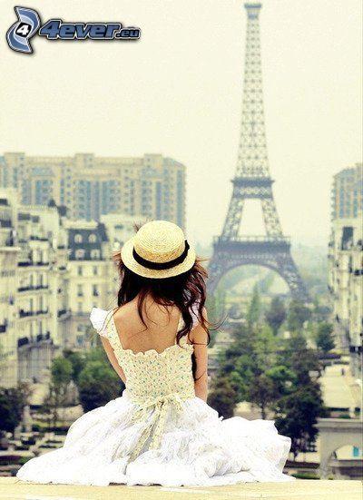 dama, Torre Eiffel, París