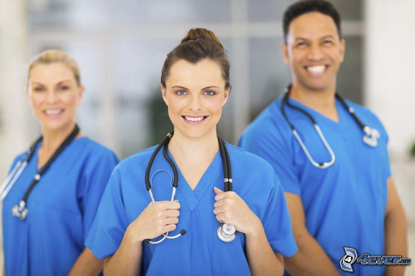 enfermeras, estetoscopio, hospital