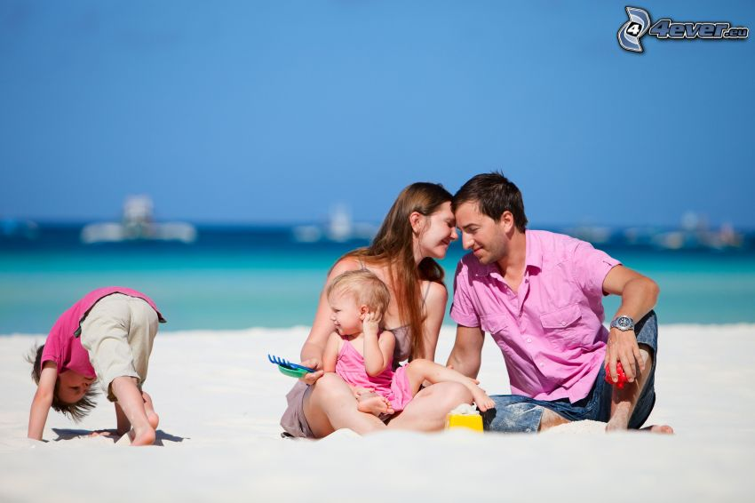 familia, playa