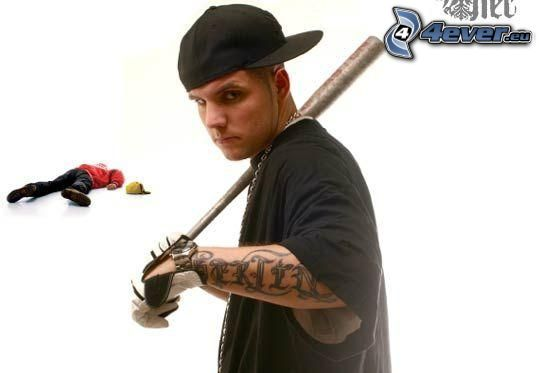 gangster, bate de béisbol, cadáver