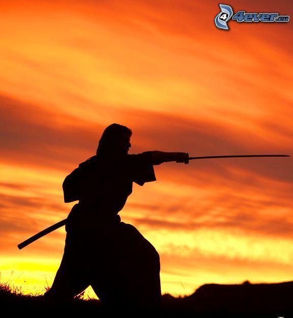 guerrero, silueta, cielo anaranjado