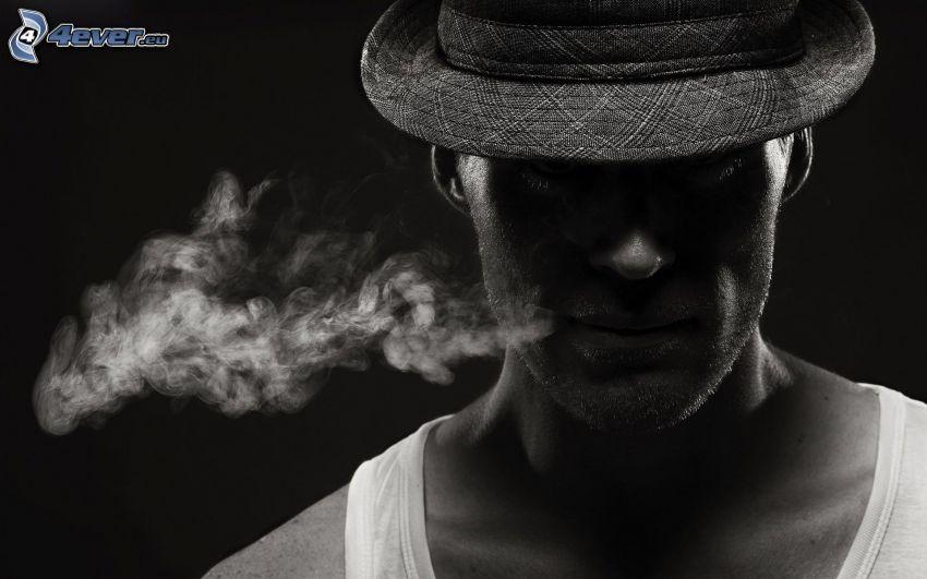 hombre, humo, fumar, sombrero