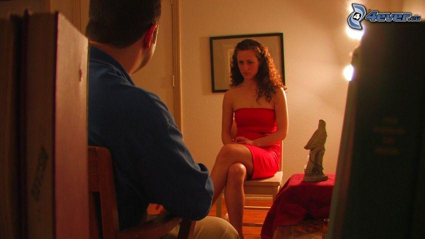 hombre y mujer, vestido rojo