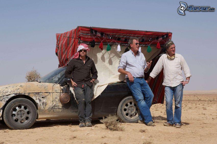 hombres, coche, desierto