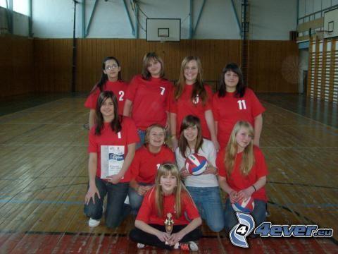 jugadora de voleibol, equipo, gimnasio