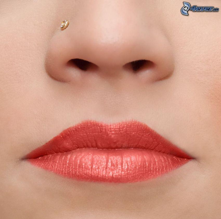 labios, nariz, piercing