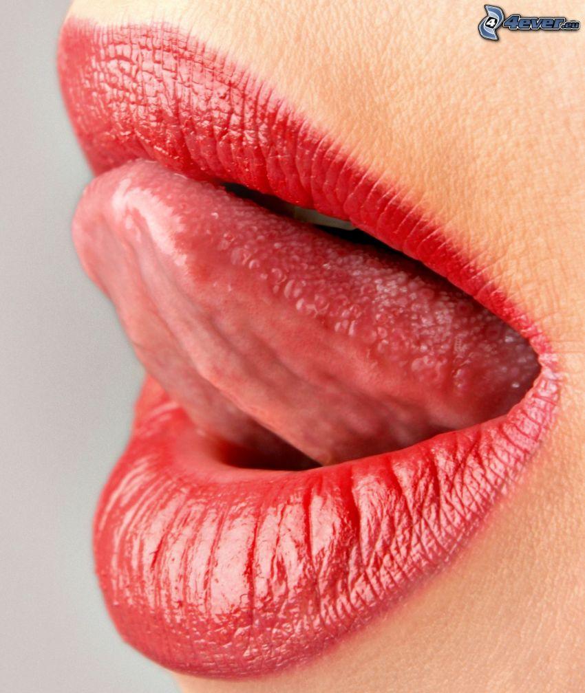 labios rojos, lengua
